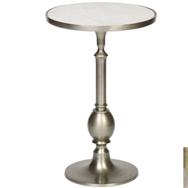 Pictured is the Ivy Accent Table which features a Marble table top and an aluminum frame with your choice of Pewter or Antique Brass finish options by Prima that measures 16-in x 16-in x 24.25-in
