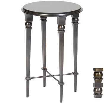 Pictured is the Pegasus Accent Table which features a Granite table top and an aluminum frame with your choice of Dark Bronze or Antique Brass finish options by Prima that measures 16-in x 16-in x 23.5-in