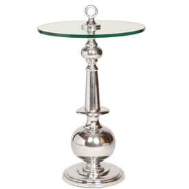 Pictured is the Briset Accent Table which features a Glass table top and an aluminum frame with a Silver finish by Prima that measures 17-in x 17-in x 30-in