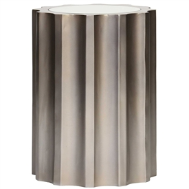 Pictured is the Fluted Accent Table which features a Mirrored Glass table top and an aluminum frame by Prima that measures 14.875-in x 14.875-in x 20-in