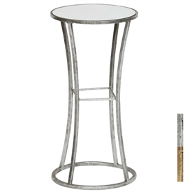 Pictured is the Abilon Accent Table which features a Mirrored Glass table top and a Metal frame with your choice of Silver Leaf or Gold Leaf finish options by Prima that measures 12-in x 12-in x 24-in