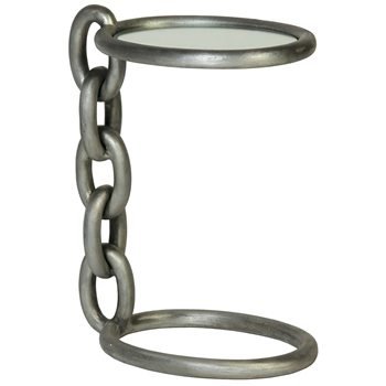 Pictured here is the Industrial style Stacked Chain Accent Table with thick cast chain parst that make up a uniqe chain link table base and frame.