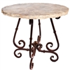 "Pictured here is the French Counter Table with Wrought iron base and 36"" Round Marble Table Top"