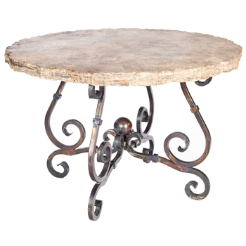 "Pictured here is the French Dining Table with Wrought iron base and 48"" Round Marble Table Top"