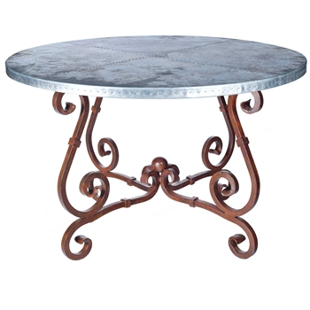 "Pictured here is the French Dining Table with Wrought iron base and 60"" Round Hammered Zinc Table Top"
