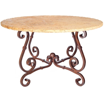 "Pictured here is the French Dining Table with Wrought iron base and 60"" Round Marble Table Top"