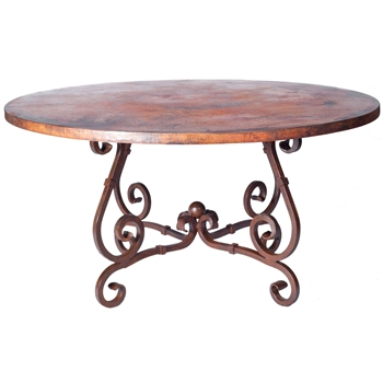 "Pictured here is the French Dining Table with Wrought iron base and 72"" Round Hammered Copper Table Top"