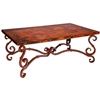Pictured here is the French Cocktail Table with Wrought iron base and Rectangle Hammered Copper Table Top