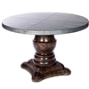 "Pictured here is the Fredrick Dining Table with solid wood base and 54"" Round Hammered Zinc Table Top"