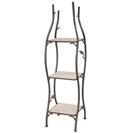Pictured here is the single width Sassafras Standing Shelf with rustic wrought-iron frame and 3 natural stone shelves