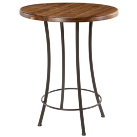 Pictured here is the Bistro Counter Height Table with a clean black wrought iron base and a 30 inch distressed pine table top.