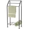 Pictured here is the free standing Monticello Towel Rack with natural black finish over the hand-forged wrought iron frame.