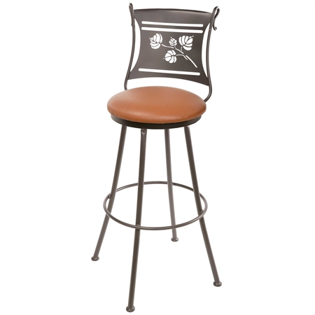 Pictured here is the Aspen Wrought Iron Bar Stool with a swivel seat, contoured backrest and leather upholstered seat.