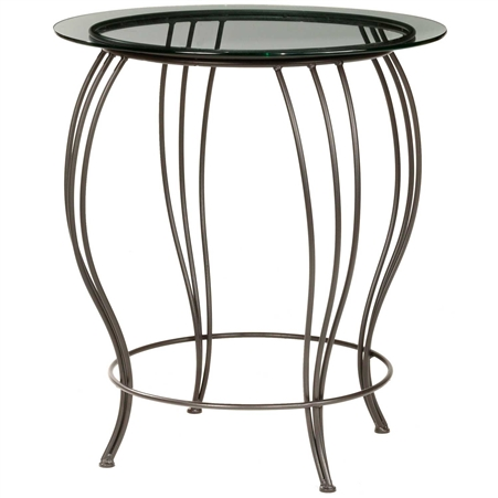 Pictured here is the Bella Counter Height Table with a 42 in round wood top and black iron base