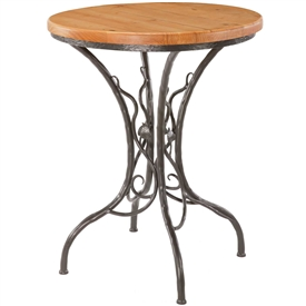 Pictured here is the Sassafras Counter Height Table with a rustic hand-forged wrought iron base and your choice of a 30inch round wood, copper or glass table top.