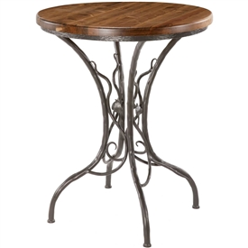 Pictured here is the Sassafras Counter Height Table with a rustic hand-forged wrought iron base and your choice of a 42inch round wood, copper or glass table top.