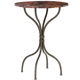 Pictured here is the Cedarvale Counter Height Table with textured wrought iron table base and a 30 inch diameter table top.