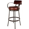 Pictured here is the Cedarvale Counter Stool with plush seat, backrest and generous arm rests.  Available in several iron finish and upholstery options.