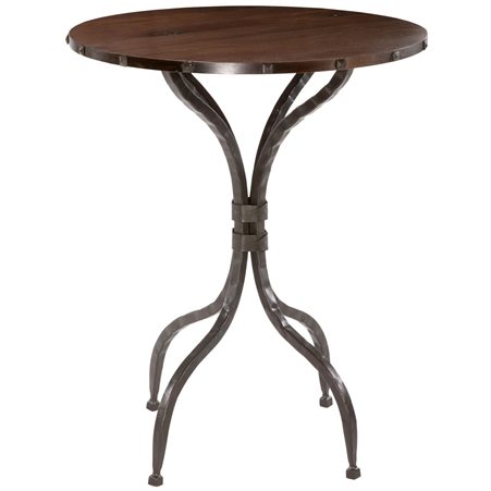 Pictured here is the Forest Hill Bar Height Table with a traditional styled wrought iron table base and a 42 inch diameter table top.