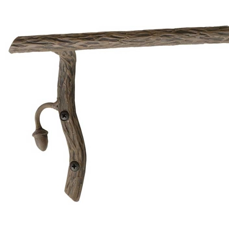Pictured Here is the Oakdale 32 inch Iron Towel Bar with hand-forged textures, leaves and acorns that closely resemble the natural beauty of the grand oak.