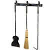 Pictured here is the wall mount Studio Collection 3 piece fireplace tool set that includes Broom, Fire-Poker, Shovel, and Wall Mount. Personalize with custom iron finishes and broom colors to choose from.