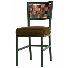 Pictured here is the Rushton Dining Chair with Copper Weave backrest