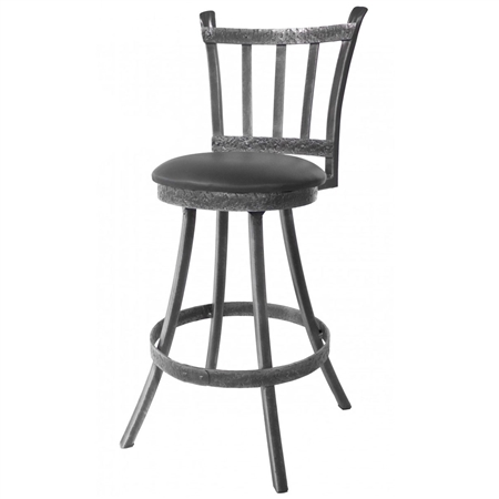 Pictured here is the Montage Bar Stool with 30-inch seat height available in several custom upholstery and iron finish options