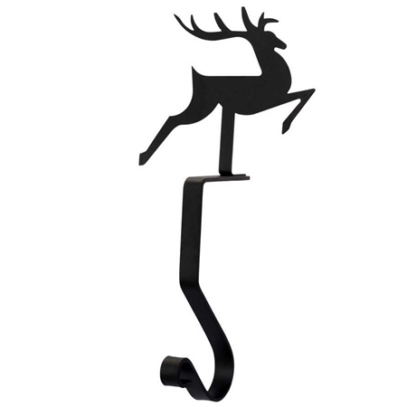 Pictured here is the Wrought Iron Reindeer Stocking Holder made for mantels and shelves.