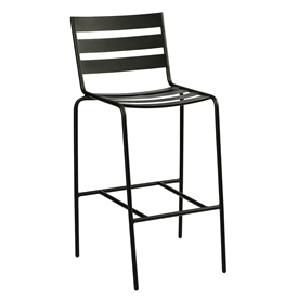 Pictured is the Metro Stationary Stackable Bar Stool from Woodard Outdoor Furniture, sold by Timeless Wrought Iron.