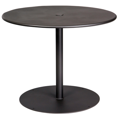 "Pictured is the ADA Solid Iron Top 36"" Round Umbrella Table from Woodard Outdoor Furniture, sold by Timeless Wrought Iron."