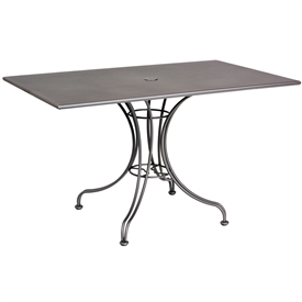 "Pictured is the Solid Iron Top 48"" x 30"" Rectangle Umbrella Table from Woodard Outdoor Furniture, sold by Timeless Wrought Iron."
