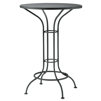 "Pictured is the Aurora 42"" Round Umbrella Table with Mesh Top from Woodard Outdoor Furniture, sold by Timeless Wrought Iron."