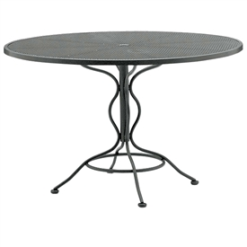 "Pictured is the Set-Up Micro Mesh 42"" Round Top Bistro Table from Woodard Outdoor Furniture, sold by Timeless Wrought Iron."