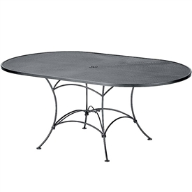 "Pictured is the Set-Up Micro Mesh 42"" x 72"" Oval Top Table from Woodard Outdoor Furniture, sold by Timeless Wrought Iron."