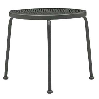 "Pictured is the Mesh Top 17"" Round End Table - Stackable from Woodard Outdoor Furniture, sold by Timeless Wrought Iron."