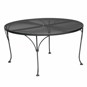 "Pictured is the 42"" Round Mesh Top Dining/Chat Table with Umbrella Hole from Woodard Outdoor Furniture, sold by Timeless Wrought Iron."