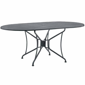 "Pictured is the 42"" x 54"" Mesh Top Oval Dining Table with Umbrella Hole by Woodard Outdoor Furniture."