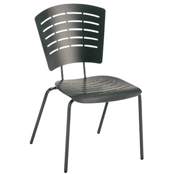 Pictured is the Brio Stackable Side Chair from Woodard Outdoor Furniture, sold by Timeless Wrought Iron.