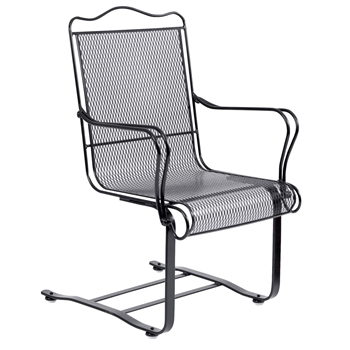 Pictured is the Tucson High Back Spring Base Chair from Woodard Outdoor Furniture, sold by Timeless Wrought Iron.