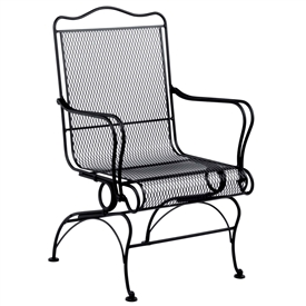 Pictured is the Tucson High Back Coil Spring Chair from Woodard Outdoor Furniture, sold by Timeless Wrought Iron.