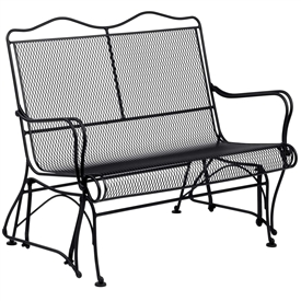 Pictured is the Tucson High Back Gliding Loveseat from Woodard Outdoor Furniture, sold by Timeless Wrought Iron.
