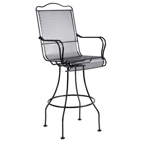 Pictured is the Tucson Swivel Bar Stool from Woodard Outdoor Furniture, sold by Timeless Wrought Iron.