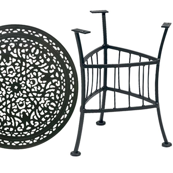 Pictured is the Easton Outdoor End Table With 22 inch Vintage Top from Woodard, sold by Timeless Wrought Iron.