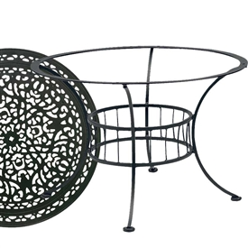Pictured is the Easton Chat Table with Vintage Top from Woodard Outdoor Furniture, sold by Timeless Wrought Iron.