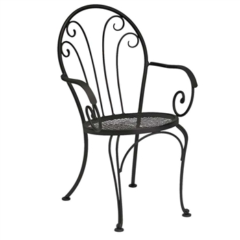 Pictured is the Laurel Bistro Arm Chair from Woodard Outdoor Furniture, sold by Timeless Wrought Iron.