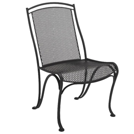 Pictured is the Modesto Dining Side Chair from Woodard Outdoor Furniture, sold by Timeless Wrought Iron.