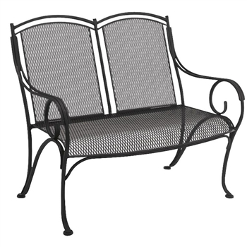 Pictured is the Modesto Bench from Woodard Outdoor Furniture, sold by Timeless Wrought Iron.
