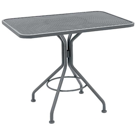 "Pictured is the Micro Mesh 30"" Square Top Bistro Table from Woodard Outdoor Furniture, sold by Timeless Wrought Iron."