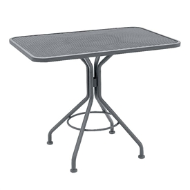 "Pictured is the Micro Mesh 24"" x 36"" Rectangle Top Bistro Table from Woodard Outdoor Furniture, sold by Timeless Wrought Iron."