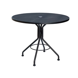 "Pictured is the Micro Mesh 48"" Round Top Bistro Umbrella Table from Woodard Outdoor Furniture, sold by Timeless Wrought Iron."